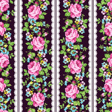 Seamless floral pattern with pink roses, forget-me-not and lace - 116892878