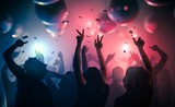 Young happy people are dancing in club. Nightlife and disco concept. - 116893829