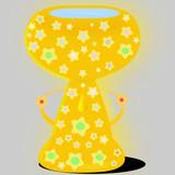 Copa de oro con estrellas y piedras semipreciosas llena de agua.