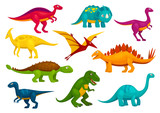 Fototapeta Dinusie - Dinosaurs cartoon collection. Vector animals © Vector Tradition