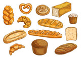 Bread sorts and bakery sketched objects