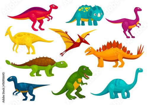 Fototapeta Dinosaurs cartoon collection. Vector animals
