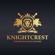 Knight Crest Logo. Heraldic lions with shield, sword and ribbon.
