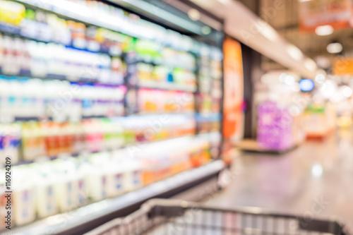 Supermarket store blurred background with bokeh,defocused light