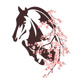 horse among flowers