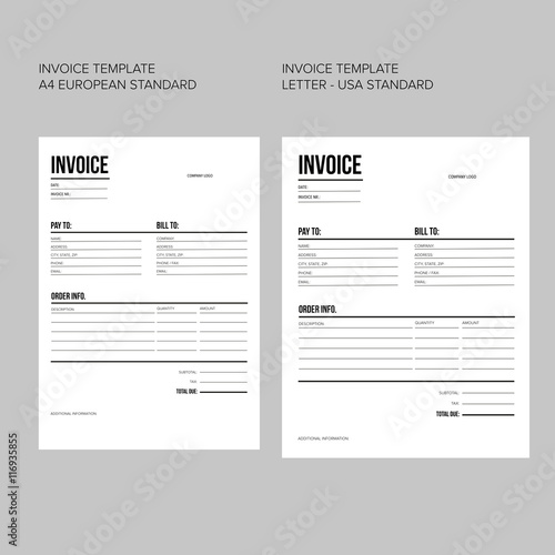 invoice business template european and usa standard paper