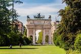 Arco della Pace and gardens of Parco Sempione, Milan. Italy