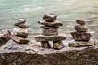 ALberta, Canada - Inukshuk rock piles by the lake