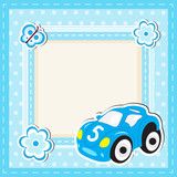 Children's toy car greeting card. Greeting card with space for text. Children frame. Vector illustration.