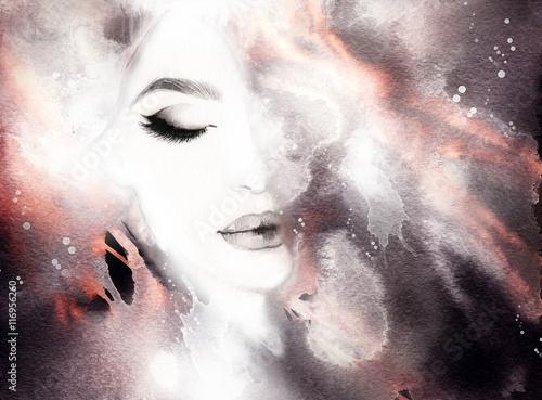 Fototapety, obrazy : Beautiful woman portrait. Abstract fashion watercolor illustration
