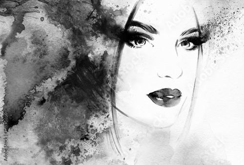 Beautiful woman portrait. Abstract fashion watercolor illustration © Anna Ismagilova