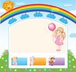 Cartoon kid rainbow template