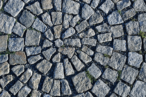 Granite paving in the shape round in Prague