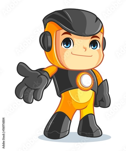 Cute Robot Mascot Cartoon Vector Illustration Welcome - 116976884