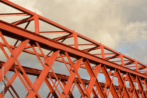 background of painted trusses on a large road bridge Poster