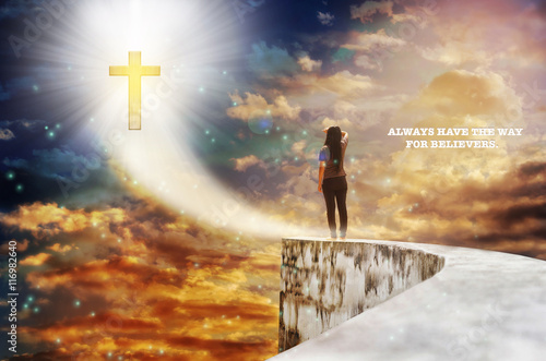 Poster Text always have the way for believers with crucifix on heaven shining sky,God l