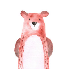 Bear Woodland Animals Watercolor Hand-painted Illustratioin Isolated