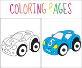 Coloring book page. Toy car. Sketch and color version. Coloring for kids. Vector illustration