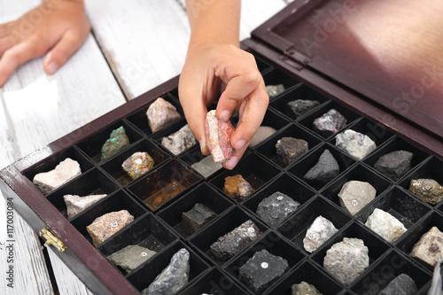 Zdjęcia Skały i minerały. Kasetka minerałów, kolekcja kamieni.