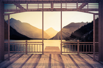 Wooden terrace with views of the Alpine lake