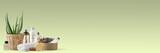 Fototapety Verschiedene Pflegeprodukte, Handtuch, Aloe Vera - Spa und Beauty – Banner