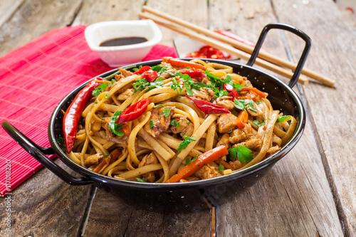 Chinese food on wok - 117018220