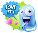 3d Rendering. Love Emoticon Face saying Love It with Colorful S