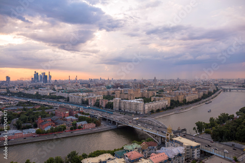 Deurstickers Amsterdam A wide angle view of a rainy Moscow panorama before sunset in summer