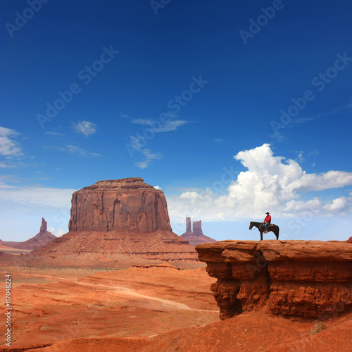 USA - Monument Valley / Cowboy on John Ford point Poster