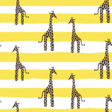 Giraffe vector seamless pattern. Giraffe yellow and white texture stains. Safari wild animal background with yellow horizontal bold lines for baby infant apparel.