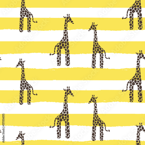 Giraffe vector seamless pattern. Giraffe yellow and white texture stains. Safari wild animal background with yellow horizontal bold lines for baby infant apparel. - 117056015