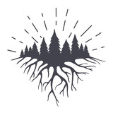 Vector illustration with mountains roots end forest.