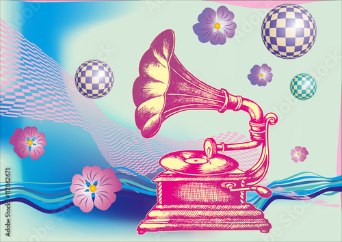 Obraz Decorative composition with hand drawing Gramophone. engraving style. vector illustration.
