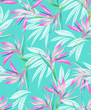 watercolor bird of paradise tropical seamless pattern. - 117064003