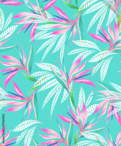 Materiał do szycia watercolor bird of paradise tropical seamless pattern.