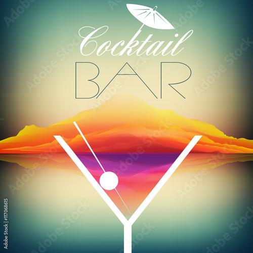 Fototapeta Simple Cocktail Poster Design - Vector Illustration
