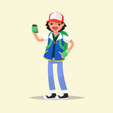 Playing boy with a smartphone in hand. Vector illustration