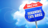 warning evil boss, 3D rendering, blue street sign