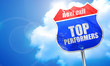 Постер, плакат: top performers 3D rendering blue street sign
