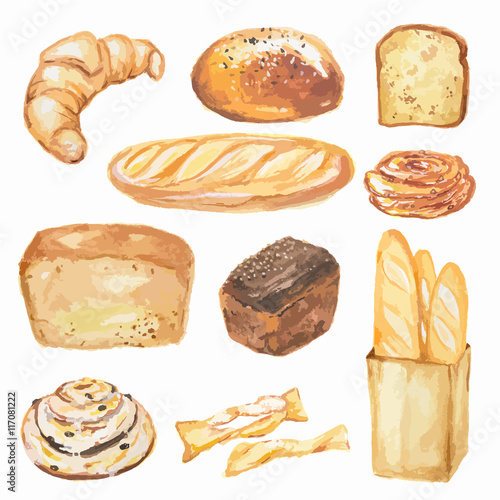 Watercolor bread set Poster