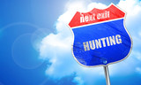 hunting sign background, 3D rendering, blue street sign