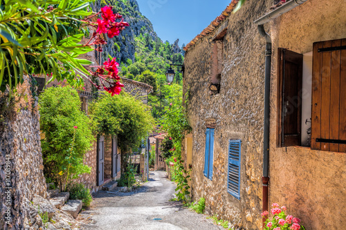 Fototapety, obrazy : Moustiers Sainte Marie village with street in Provence, France