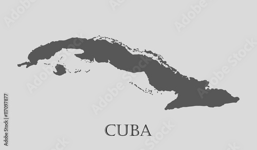 Gray Cuba map - vector illustration