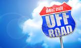 off road, 3D rendering, blue street sign