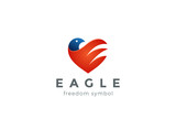 Eagle Logo Heart Vector design Falcon Hawk bird icon America