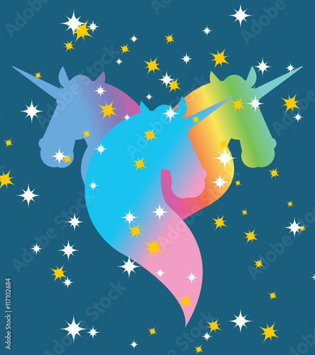 Poster Pony Rainbow Unicorn. Starry blue sky. Symbol of LGBT community