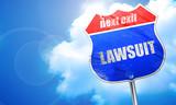 lawsuit, 3D rendering, blue street sign - 117105603