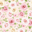 Vector seamless pattern with pink and white roses and green leaves on a pink background.