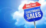 electronic sales, 3D rendering, blue street sign