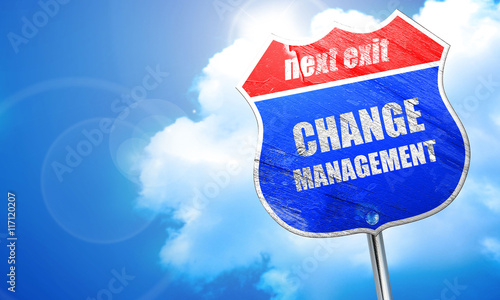 change management, 3D rendering, blue street sign